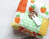 Strawberry Red and Green Pincushion Square Pincushion Floral Pin Keep Scrappy Pin Cushion