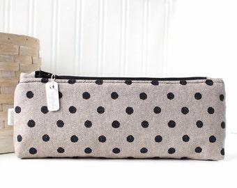 Black and Tan Polka Dot Pencil Case Cute Pencil Case Polka Dot Zipper Bag