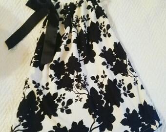 Black white dress, shabby chic dress, pillowcase dress, pageant dress, black white fabric, floral dress, girl dress