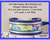 Jan's Martingales, Blue Collar and Leash Combination Walking Lead, Whippet, Medium Dog Size, wblu047