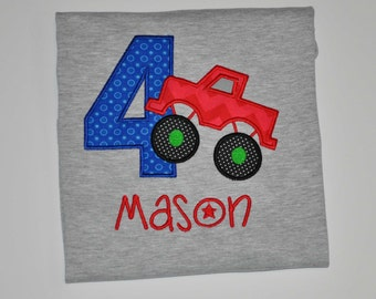 Birthday Boy Outfit - Personalized 4th Birthday Red Monster Truck Appliqued Grey T-shirt, Sizes 2T, 3T, 4T, & 5/6