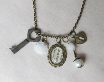 Jane Eyre Charm Necklace Charlotte Bronte White Beaded. Skeleton Key Vintage Upcycled. Brass Literature Flower Boho Chic Handmade