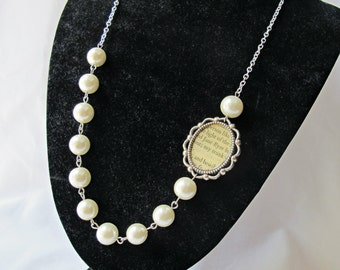 Jane Eyre Necklace Bridal Glass Pearls White Cream Ivory Cameo Asymmetrical Wedding Charlotte Bronte Literature Two Cheeky Monkeys Handmade