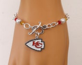 Kansas City Chiefs Bracelet, KC Chiefs Bling, White Pearl, Red and Gold Crystal Bracelet, Pro Football Chiefs Jewelry Accessory Fanwear