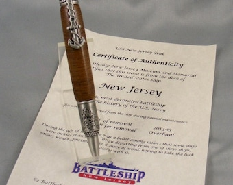 Antique Pewter~Battleship Teak Naval Pen
