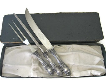Antique Ornate Carving Set, Fork, Knife and Sharpening Steel Silverplate Handle, Curtin Clark Cutlery Company, Kansas City Mo