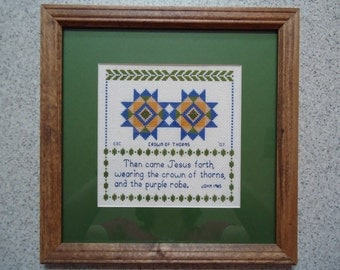 Crown of Thorns - Inspirational Cross Stitch Picture - Wall Decor