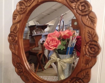Rose carved mirror, small size, fits anywhere, looks great on you!