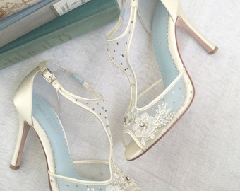 T Strap Wedding Shoes with Beading and Flower Embroidery, Mesh and Ivory Silk Bridal Heels Bella Belle Shoes Paloma