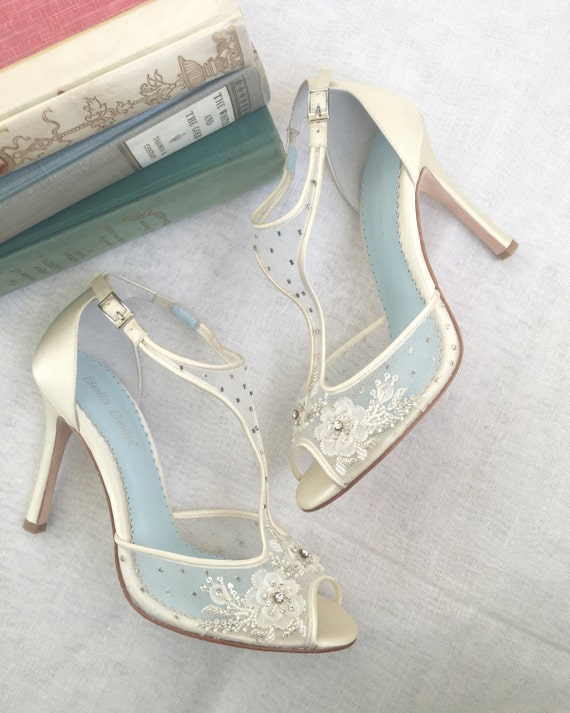 T Strap Wedding Shoes With Beading And Flower Embroidery Mesh