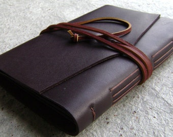 Slim leather photo album, for 4-inch by 6-inch photos, dark brown, rustic leather photo album by Dancing Grey Studio(1964)