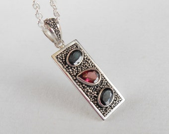 Unique Sterling Silver three tourmaline gemstones pendant chain 40 cm / silver 925 / Balinese handmade jewelry
