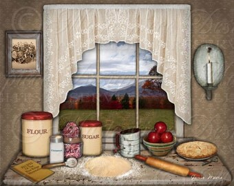 Baking Apple Pies Printable Art / Kitchen Art / Still Life - 8x10 Inch Digital Print / Frameable / Printable / Instant Download Digital JPG