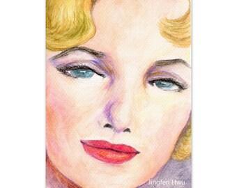 "art print of original artwork woman painting  ""A Marilyn Monroe inspired Woman Painting"" portrait painting, watercolor, beautiful watercolor"