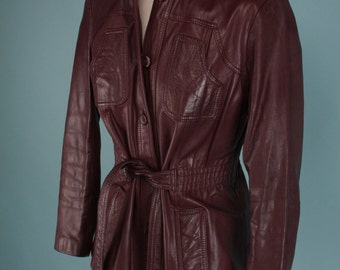 Vintage 1970s Burgundy Leather Jacket Boho Vamp Belted Fitted ~Small