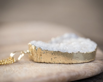 White Druzy Agate Pendant Boho Chic Necklace Gold Dipped Pendant Long Drusy Necklace