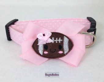 Pink Football Dog Collar Size XS through Large by Doogie Couture Pet Boutique