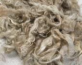 Suri Alpaca Fiber, 6.5 Inches, White, Light Fawn, Natural Color, 2 Ounces, Sadie