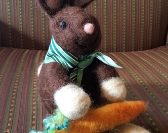 Needle Felted Brown Bunny Rabbit, Giant Carrot, Neck Scarf, Alpaca Fiber, Jed
