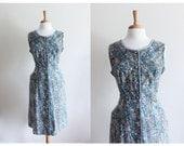 RESERVED 1960s Dress / Vintage Blue Paisley Day Dress / 60s Blue Dress