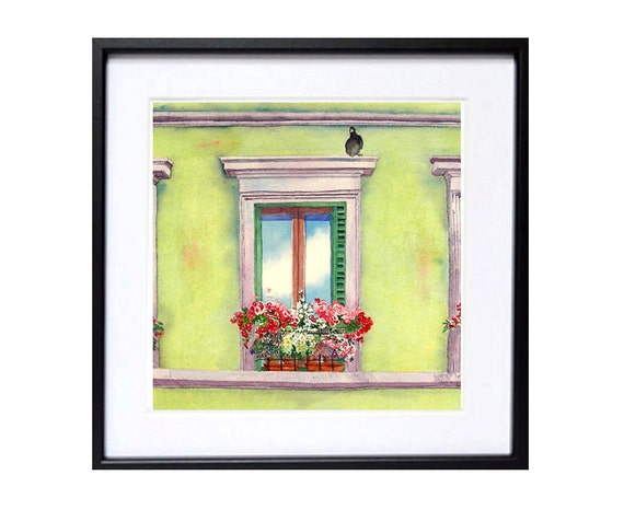 Window Art / Watercolor PRINT / Window flower box / Planter window box / Home  wall decor / Romantic / Lime green painting