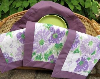 Lined Napkins, Summer Picnic, Up-cycled vintage sheets