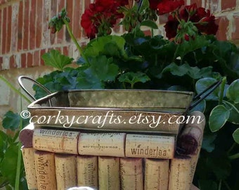 Sale Wine cork  basket,  gift basket, candy bowl, planter,  rustic wedding, ideas are endless