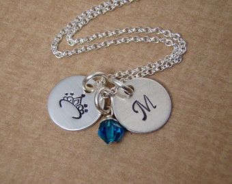 Little girl initial necklace - TINY Tiara crown and initial charms - Sterling silver personalized -  Photo NOT actual size