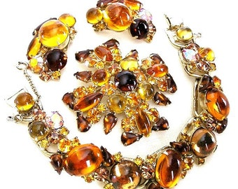 Weiss Amber and Honey Topaz Glass Set 3 Piece Demi Parure