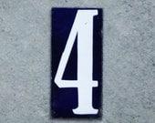 "Vintage French Enamel Number Four Tag Large Enamel House Plaque 6"" x 2.75"""