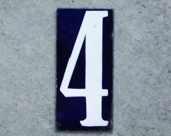 "Vintage French Enamel Number Four Tag Large Enamel House Plaque 6"" x 2.75"""