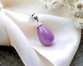 Orchid Purple Teardrop Pendant | Phosphosiderite Smooth Drop in Argentium Sterling Silver Cable Chain Necklace | Gift for Her Ready to Ship