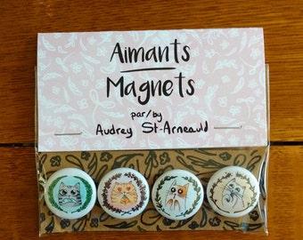 """Set of 4 1"""" magnets/Paquet de 4 aimants de 1"""""""