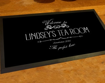 Personalised with any name Welcome Tea Room runner counter mat