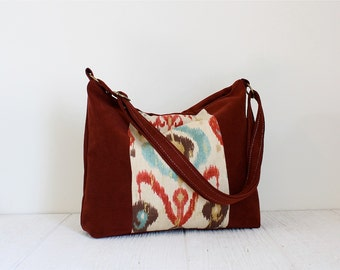 Market Bag, Tote, Market Tote, Vegan Bag, Red Suede Printed Tote