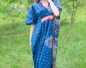 Unfurl Kaftan Style in Abstract Floral pattern in Dark Blue Color   Bohemian Caftan, Perfect for Loungewear, Beach Cover up