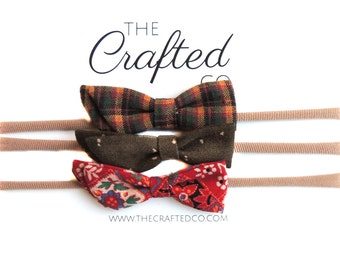 the Crafted Co for Ewmccall Set of 3 bows made from vintage fabric Holiday Fashion for girls handmade