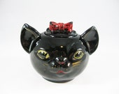 Black Cat Redware Pottery Sugar Bowl