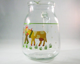 Vintage Farmer and Cow Drink Pitcher, Cerve Italy