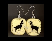 Goat Jewelry: Bright Yellow Day with Nubians in Silhouette. Earrings.Original India Ink Drawing on Polymer Clay. Yellow, Black, White 4172
