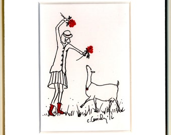 Dairy Goat ATC ACEO Art: Red Boots and Roses Original Ink Drawing ACEO. White Mat. India Ink and Red Colored Pencil on Acid Free Paper.