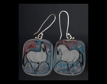 Horse Jewelry: The Grey Horse, Braided. Earrings. Ink Drawing on Polymer Clay. Maroon, Blue, Silver Grey and Black. 4178
