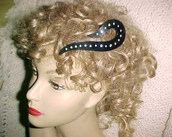 Vintage 40s Hair Comb Ladies DECORATIVE Lg Rhinestone SWIRL Wear Today Made USA