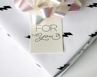 Letterpress Gift Tag - For You Script - Set of 9