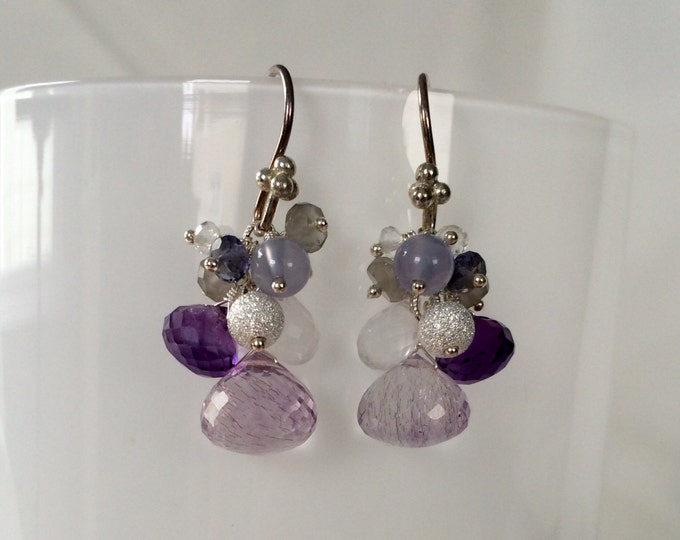 Semiprecious Gemstone Earrings in Sterling Silver with Moss Amethyst, Amethyst, Chalcedony, Iolite, Moonstone