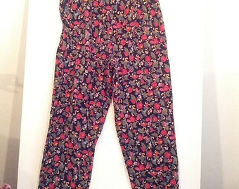 SALE 80s floral stirrup pant corduroy flowers hippie 90s 80s saved by the bell grunge boho