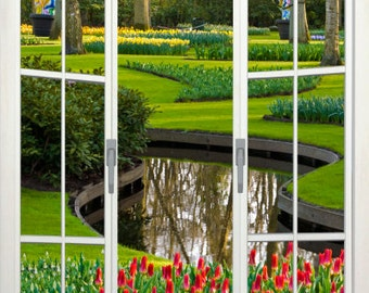 Wall mural french door, self adhesive, Lisse gardens view, Holland 48x72- free US shipping