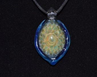Hand Blown Glass Pendant - Glass Jewelry - Silver Fume Implosion Blown Focal Bead
