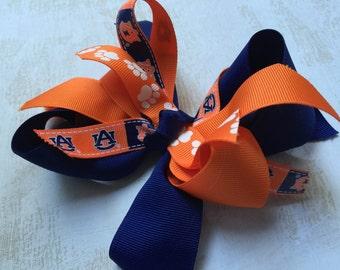 Girls Auburn Orange & Blue Hair Bow