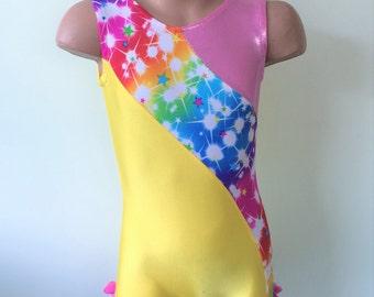 Gymnastics Dance Biketard with Multicolored Star Print Insets. Toddlers Girls Gymnastics Biketard.  Dancewear. Size 2T - Girls 10